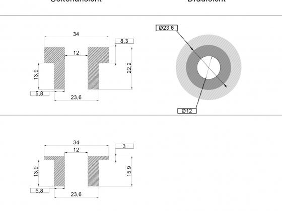 Ø12mm Riser Adapter ohne KDF